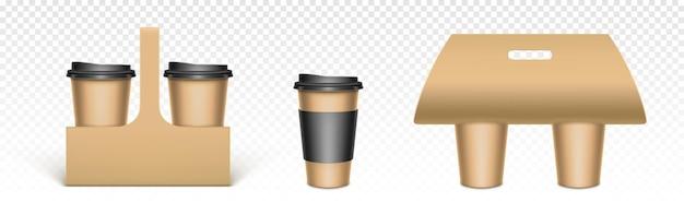 Tazas de café en soportes de papel kraft