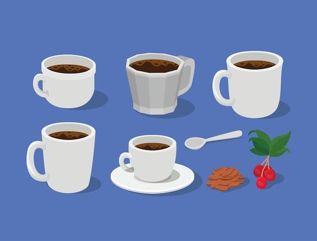 Tazas de café tazas cuchara con hojas de bayas y diseño de frijoles de bebida con cafeína desayuno y tema de bebidas.