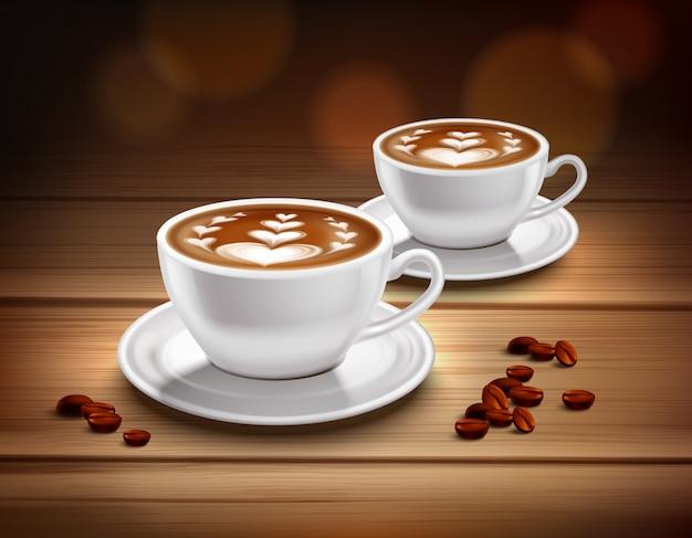 Tazas de composición de café capuchino