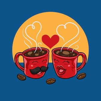 Tazas de café en el amor