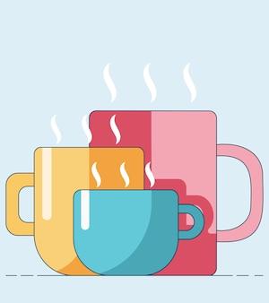 Tazas de dibujos animados con bebidas calientes de diferentes tamaños y colores aislados sobre un fondo azul.