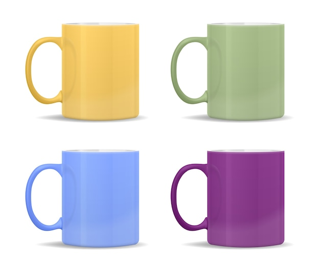 Tazas de diferentes colores: amarillo, verde, azul, morado