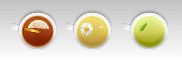 Tazas con té de hierbas, bebida saludable caliente