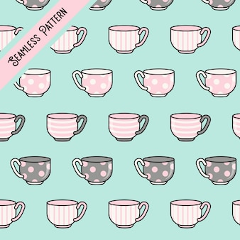 Tazas de té kawaii lindo de patrones sin fisuras