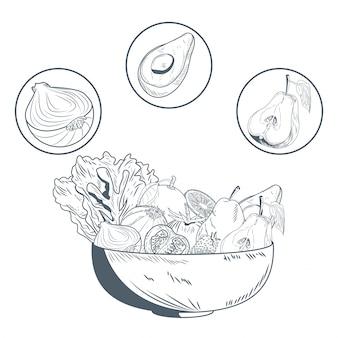 Tazón con frutas y verduras dibujar a mano