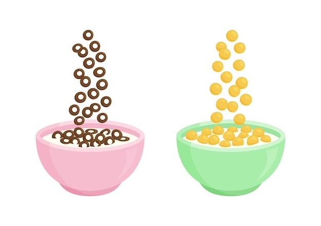 Tazón de fuente de cereal con leche y desayuno de chocolate ilustración