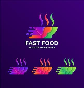 Tazón de fuente colorido combinado con humo y símbolo de velocidad como plantilla de diseño de logotipo de comida rápida aislado en fondo degradado púrpura.