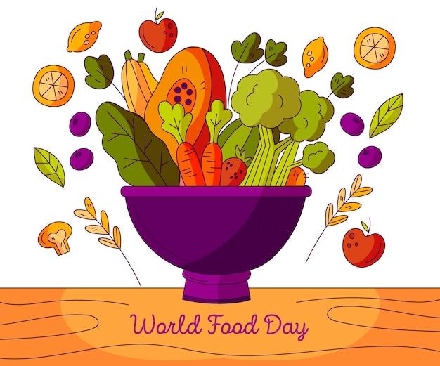 Tazón de fuente de comida deliciosa diseño dibujado a mano