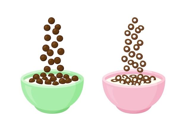 Tazón de fuente de desayuno de leche de cereales con chocolate
