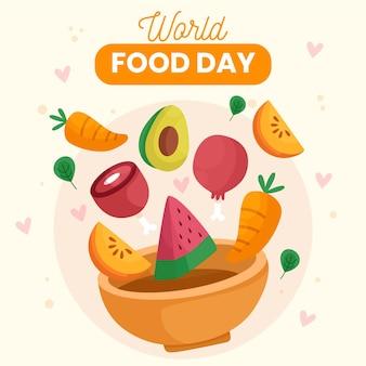 Tazón de fuente con verduras y frutas concepto del día mundial de la alimentación
