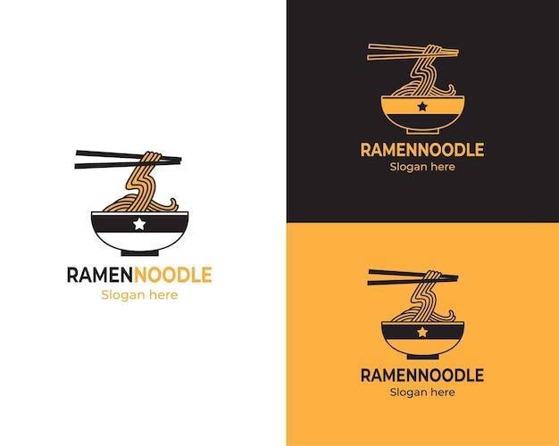 Un tazón de logotipo de fideos ramen