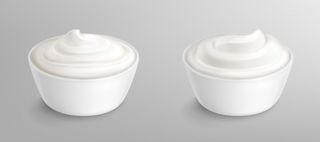 Tazón con salsa, crema. mayonesa o yogurt