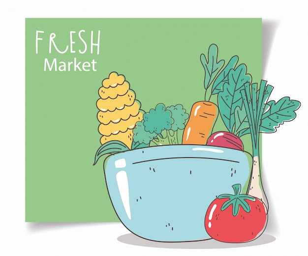 Tazón con verduras mercado fresco alimentos orgánicos saludables