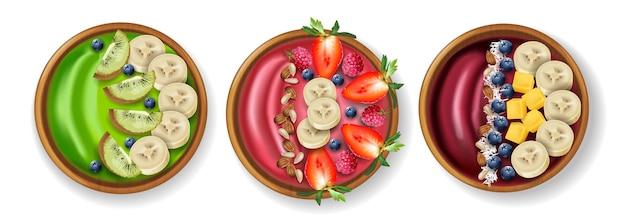 Tazones de fuente saludables set vector de desayuno realista. página del menú de colocación de productos