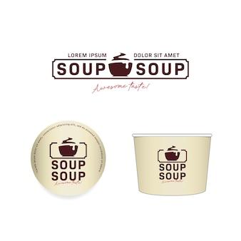 Tazones de sopa caliente y logo