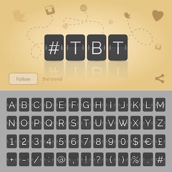 Tbt por alfabeto de marcador de volteo plano