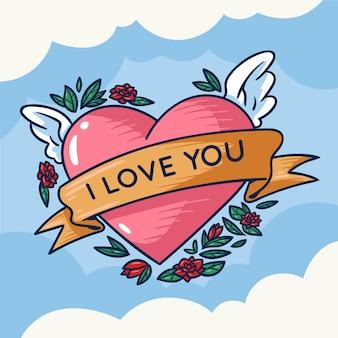 Te amo corazon ilustracion Vector Premium