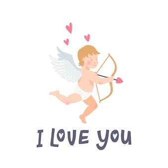 Te amo inscripción y ángel sobre fondo blanco.