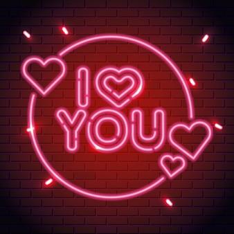 Te amo letras de luz de neón
