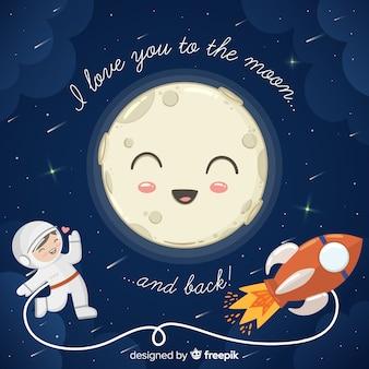 Te amo hasta la luna y la ilustración de vuelta