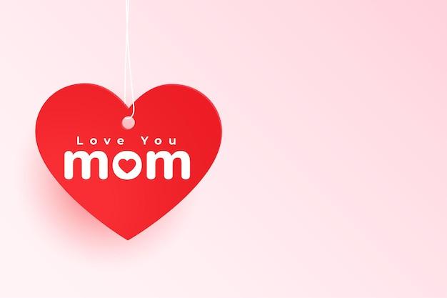 Te amo mamá etiqueta de corazón para el día de la madre