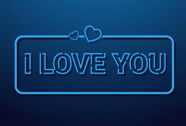 Te amo mensaje en estilo retro sobre fondo azul.
