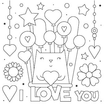 Te amo. página para colorear. en blanco y negro