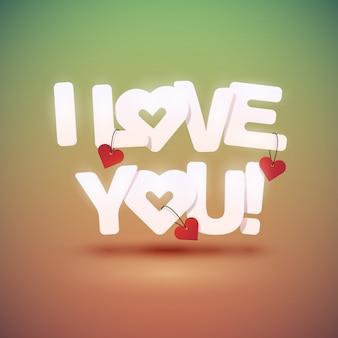 Te amo texto con corazones. ilustración.
