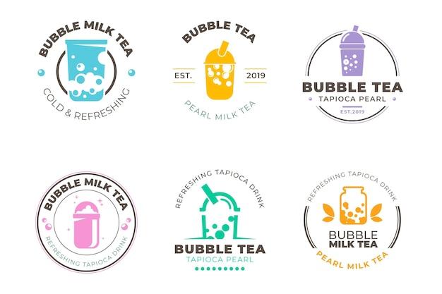 Té de burbujas de estilo de colección de logos