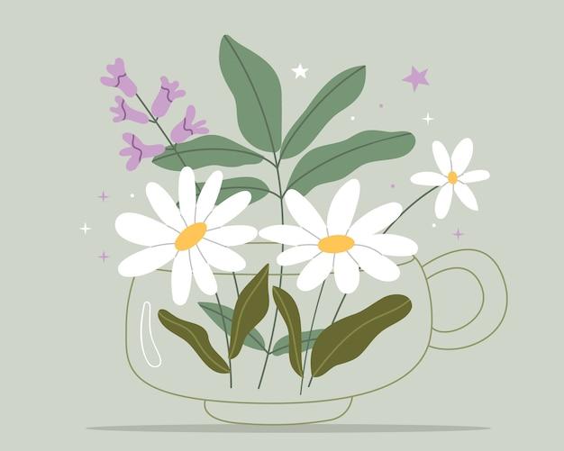 Té de hierbas con manzanilla y tomillo. medicina de hierbas naturales.