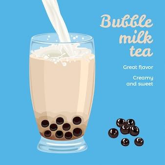 Té con leche de burbujas en vaso y perlas de tapioca.