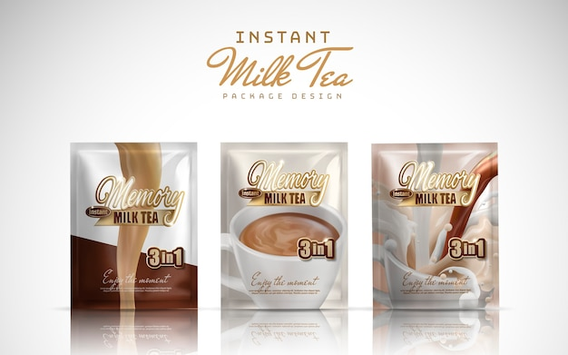 Té de leche instantáneo diseño de paquete práctico fondo blanco ilustración 3d