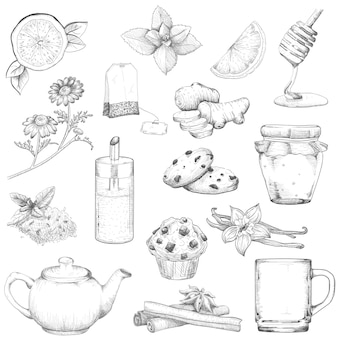 Té y pasteles conjunto ilustración boceto estilo vintage. elementos sobre un fondo blanco aislado