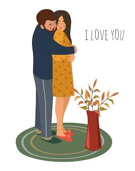 Te quiero. abrazando a la joven pareja de enamorados