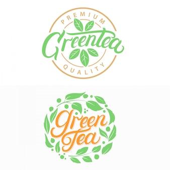 Té verde escrito a mano logotipos de letras