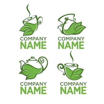 Té verde y herbal, colección de logo orgánico.