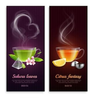 El té verde y negro con hojas de sakura y aroma de fantasía cítrica promueven pancartas verticales con imágenes de tazas humeantes realistas