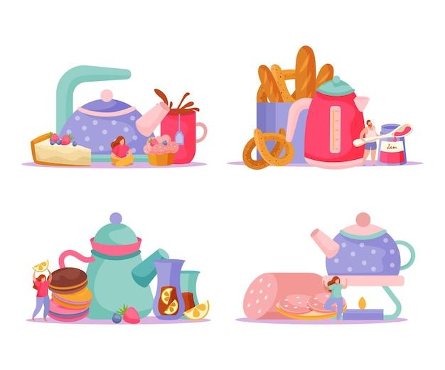 Tea time flat 4x1 conjunto de composiciones aisladas con teteras, tazas, bocadillos y garabatos de personajes humanos ilustración