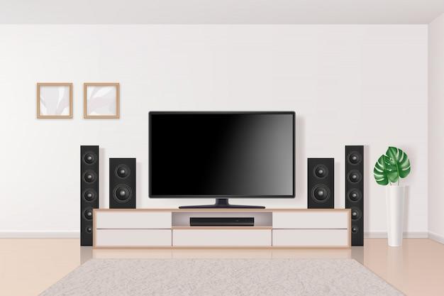 Teatro en casa. sistema de televisión en el interior del sistema multimedia grande y moderno sistema de cine en casa en la sala de estar concepto realista