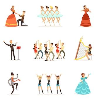 Teatro clásico y representaciones teatrales artísticas conjunto de ilustraciones con ópera