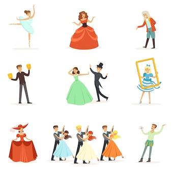 Teatro clásico y representaciones teatrales artísticas serie de ilustraciones con ópera