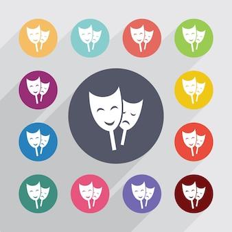 Teatro, conjunto de iconos planos. botones redondos de colores. vector