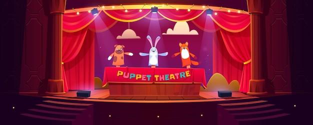 Teatro de marionetas en el escenario, muñecos divertidos realizan espectáculos para niños en escena con cortinas rojas