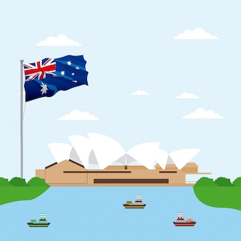 Teatro de la ópera de australia con escena de la bandera