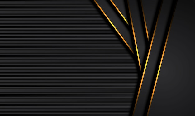 Tech fondo negro con contraste naranja rayas amarillas.
