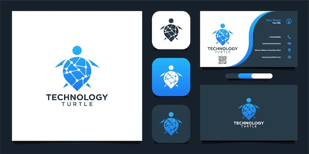 Technologi turtle diseño de logotipo y tarjeta de visita.