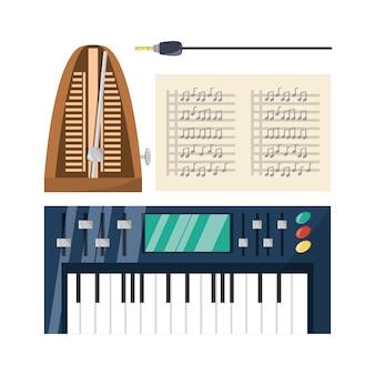 Teclado eléctrico con hojas de música. concepto de música.