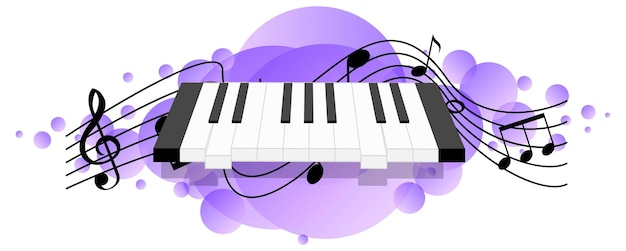 Teclado electrónico o instrumento musical electrónico con símbolos de melodía en mancha púrpura