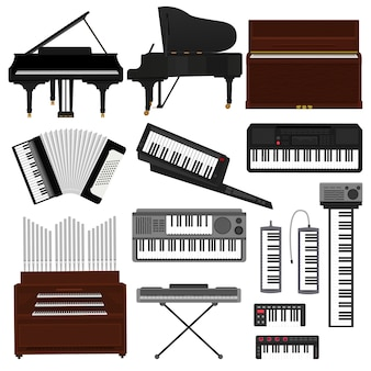 Teclado instrumento musical vector músico equipo piano de orquesta sintetizador acordeón clásico pianoforte órgano ilustración