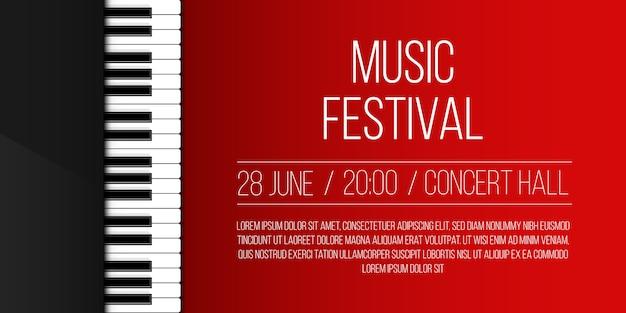 Teclas del piano. banner de música de concierto de jazz en vivo